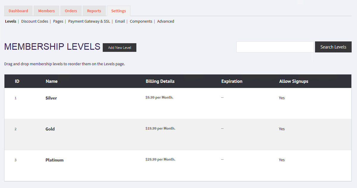 Membership levels showing four columns of information - name, billing details, expiration and Allow Signups.