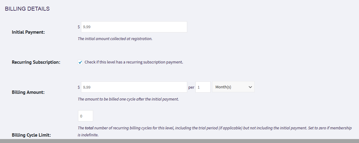 Billing detail fields - showing initial payment, option for recurring subscription, billing amount and billing cycle limit.