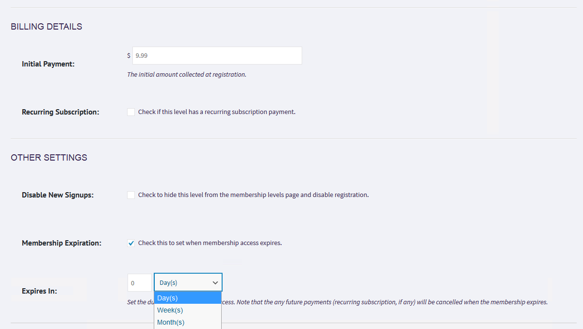 Showing the OTHER SETTINGS section - fields are disable new signups and membership expiration check boxes.  It also defines two more fields for expiration period.