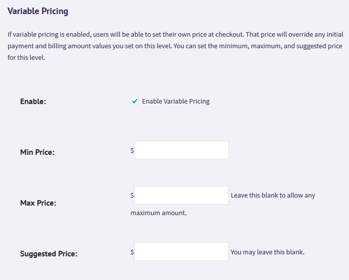 Variable pricing options showing min price, max price and suggested price fields.